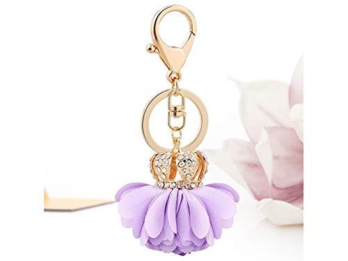 QWhing Schlüsselhalter Crown Stoff Blume Form Keychain Handtasche Anhänger Autoschlüsselring für Frauen Dame Mädchen Dekoration (Lila) Auto-Schlüsselanhänger -
