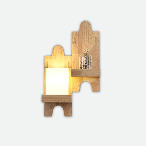 Solid Wood Wall Lamp Simple Living Room Dining Room Bedside Lamp Aisle Wall Mosaic Map Creative Light With Light Source (With Decorations) A2