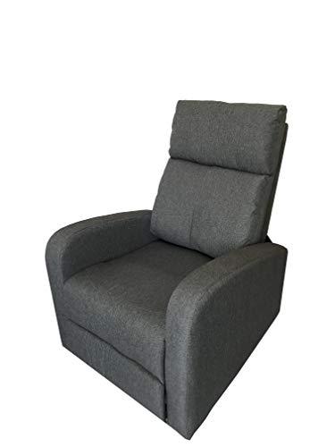 Totò piccinni poltrona relax reclinabile manuale con poggiapiedi imbottita confortevole (grigio tessuto)