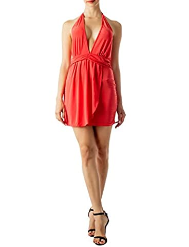 iB-iP Women's Tie Halter Top Wrap Bodycon Dress Low Back Mini Chemise Lingerie, Size: S, Coral