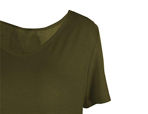 iPretty Femme Robe T-shirts Tops à Manches Courte Casual Robe Eté Vert-1