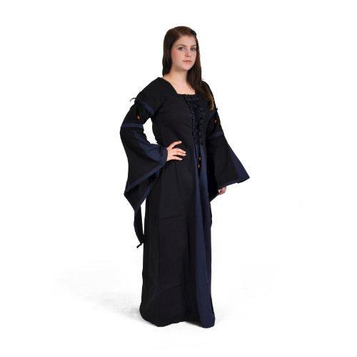 Traditionellen Nicht Vampir Kostüme (Mittelalter lang, im Leinen-Look, Baumwolle, schwarz/blau, Größe)
