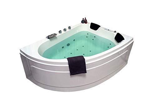 Doppel Whirlpool Badewanne Titan MADE IN GERMANY 180 x 130 cm mit 25 Massage Düsen + LED Beleuchtung / Licht + Heizung + Ozon Desinfektion + Balboa / DHW + MIT Armaturen Eckwanne rechts oder links