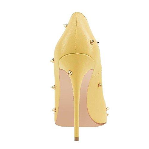 uBeauty Damen Stilettos High Heels Slip On Pumps mit Nieten Hochzeit Spitze Zehen Übergröße Schuhe Gelb