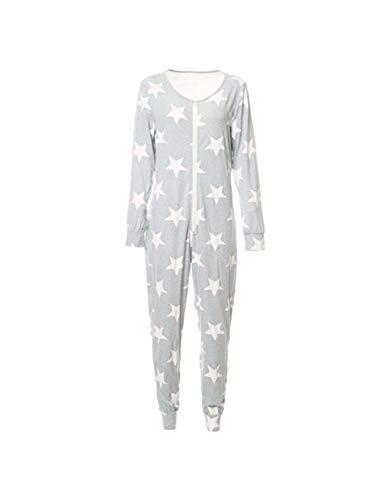 Mo Onesies (Zhhlinyuan Gemütlich Weich Schlafoverall Jumpsuit Damen Overall Pyjama Casual Homewear - Kuschelig Schlafanzug Nachtwäsche Langarmshirt Playsuit mit Reißverschluss)