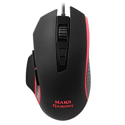 Mars Gaming MM018, mano derecha, Óptico, USB, 4800 DPI, Negro