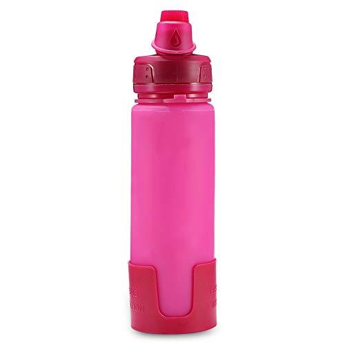 SHUFAGN,Silikon-Klappwasserflaschen für Camping und Wandern(color:ROSE ROT)