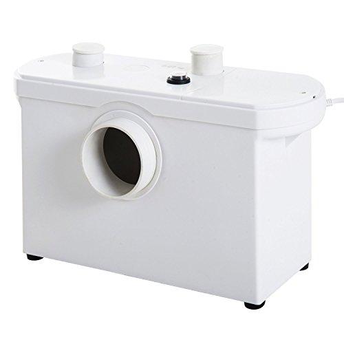 HomCom Bomba Trituradora de Agua Residual para Baño Lavabo o Cocina Triturador Sanitario de 600W con 3 Entradas - 51x21x31cm