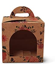 Schmancy Floral Kraft Bakery Box for 1 Cupcake (3.5x3.5x3.5 inch) - Pack of 10