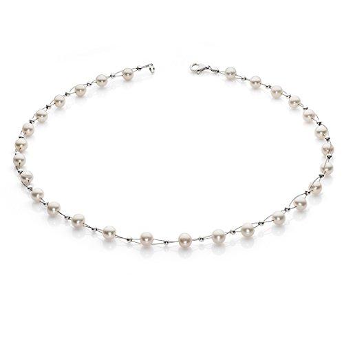 Perlenkette Kette Collier Halskette echte Süßwasser-Perlen creme-weiß Halsschmuck Damen
