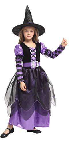 Cloud Kids Mädchen Hexe Kostüm Lila-Schwarz Hexekostüm Fasching/ Kaneval Kostüm Hexekleid für Kaneval, Fasching, Cosplay und Thema Party (Hexe Themen Kostüm)