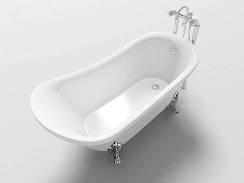 Klassische Badewanne für Badezimmer, 160 x 72 cm, freistehende Füße