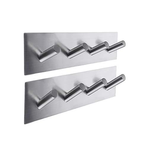 KES Selbst Klebe Haken Schienen Rack Sticky Stick Auf Mantel und Kleid Schlüssel Haken SUS 304 Edelstahl Gebürstet Fertig 4-Haken 2-Stück, A7063H4-P2