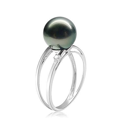 Amody Größe Sterling Silber Ring für Frauen Hohle Tahiti Perle Jubiläumsringe Größe 50 (15.9)