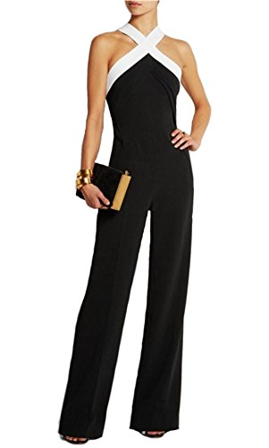 tuta bicolore con pantaloni lunghi a zampa vestito abito da cerimonia donna elegante casual party-Black-XL