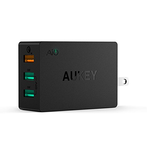Aukey Quick 2.0 42W 3 Ports USB Desktop Station Wall Charger (Black)