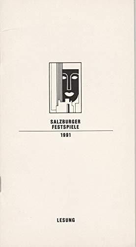 Programmheft LESUNG Ernst Schröder liest Ein Blatt für Mozart Mozarteum 8. August 1991