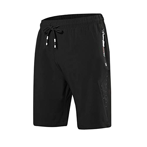 CHLCH Herren Sport Shorts Jogginghose KordelzugEinfarbig dünn schwarz 5XL