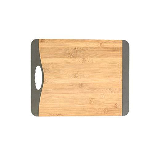 YUSDP Bio Bambus Schneidebrett - Premium Küche Metzger Block - Silikon Griff mit Saft Rille, schlanke Ecke zum Hacken von Fleisch, Gemüse - Extra groß -