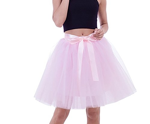 rz Tüllrock Knielang Tutu Petticoat Unterrock Ballettrock Prinzessin rock 50cm (Plus Größe Rosa Prinzessin Kostüm)