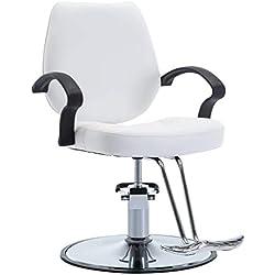 vidaXL Chaise de Coiffeur Similicuir Blanc Coiffure Tabouret Pivotant Fauteuil