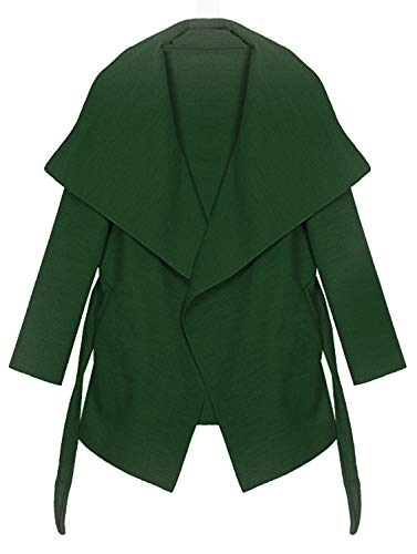 Kendindza Damen Mantel Trenchcoat mit Gürtel OneSize Lang und Kurz (OneSize, Khaki kurz) - Trench-gürtel