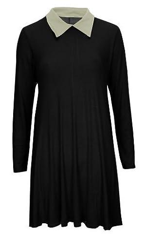 Baleza - Damen Kleid Ausgestelltes Schwingendes Lange Ärmel Peter Pan Kragen Kleid - Schwarz, 48-50
