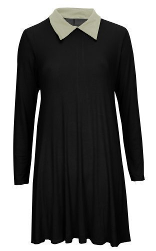 ing Langärmlig Peter Pan Coller Kleid Top SZ 8-22 - Schwarz, S/M EU 36/38 (Wednesday Addams Kleid)
