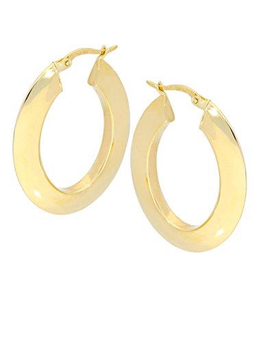 MyGold Damen Ohrringe Creolen Gelbgold 333 Gold (8 Karat) Glanz Ohne Steine Oval Groß Länge ca. 3,3cm Breite 4mm Goldohrringe Goldcreolen Geschenk Für Frauen Ohrschmuck Indra C-07914-G301