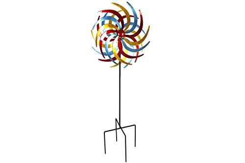 Unbekannt Doppel- Windrad Metall 60 cm Ø Tricolor 2 rot, gelb & Petrol   Garten > Dekoration > Windräder   Petrol   Metall   Unbekannt