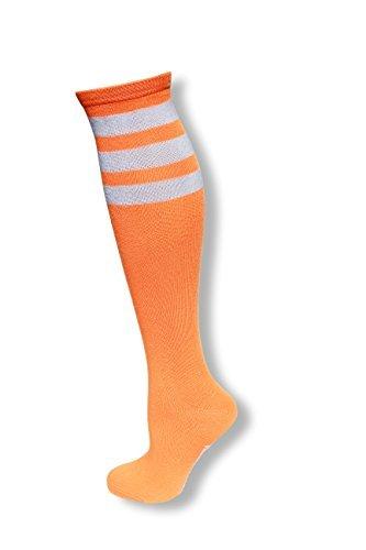 mpfe Kniestrümpfe mit weißen Streifen für Damen Einheitsgröße Neon orange ()