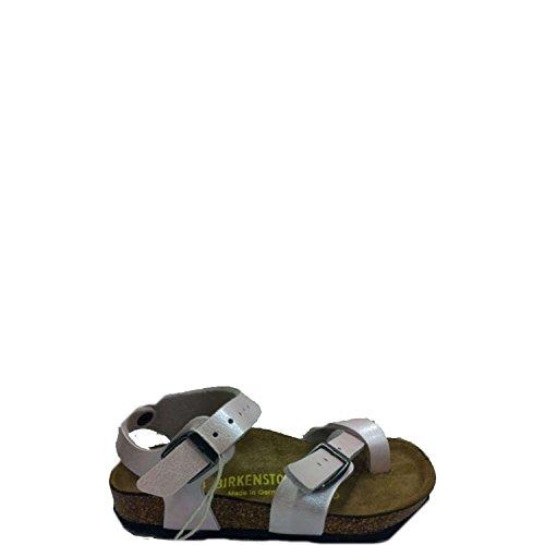 BIRKENSTOCK -Weiße Sandale aus Ökologischem Leder, Korkinnensohle, Schnallenverschluss, Unisex Jungen, Mädchen Rosa