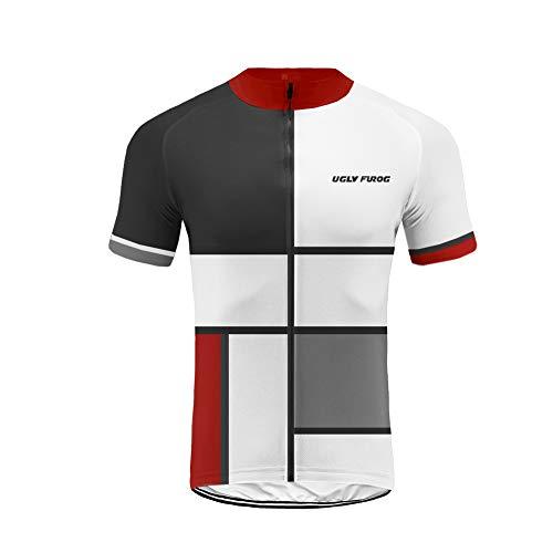 Uglyfrog Promi Plaid-Malerei Design T-Shirt Fahrrad Trikots Geschenke für Herren Radfahrer Mountain Bike MTB BMX Biker Rennrad Tour Outdoor Freeride Trail Cross