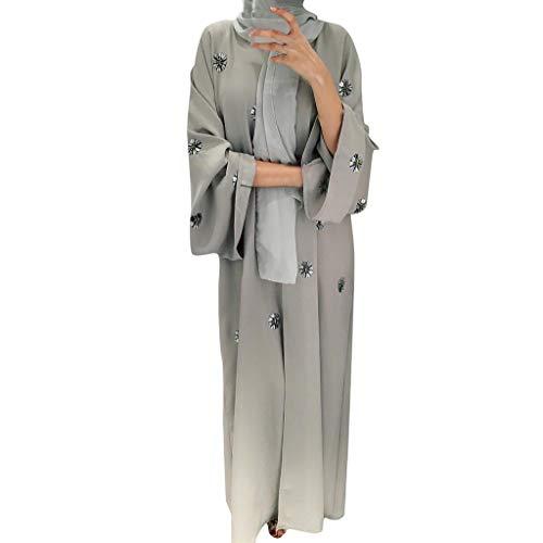 Dubai Kostüm - Committede Frauen Islamische Abaya Muslimische Lange Hülse Maxi Robe Elegantes Kleid Islamische Kleidung Perlen Strickjacke Robe Kleider Arabisches Ethnisches Kostüm Dubai Kaftan
