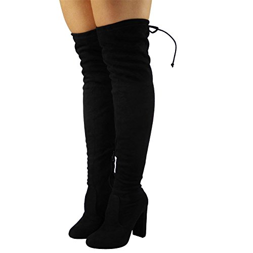 be26ca2346b9 Black Stretch Suede Size 4 - Womens Ladies Thigh High Boots Over The Knee  Party Stretch Block Mid Heel