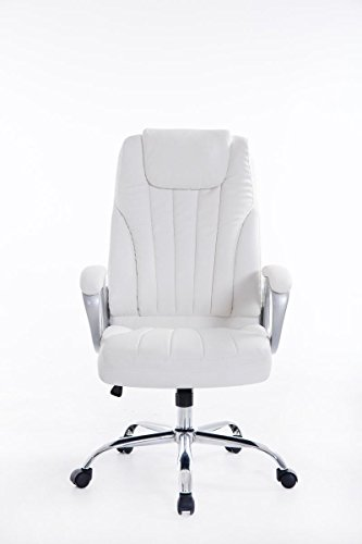 CLP XXL heavy duty office chair GENF, weight capacity 150 kg, height adjustable 47 – 57 cm, top quality upholstery white on Line