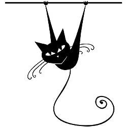 Animal negro gato en poste sala de estar pegatinas de pared decoración del hogar vinilo removible apliques de pared mural 58 * 62 cm