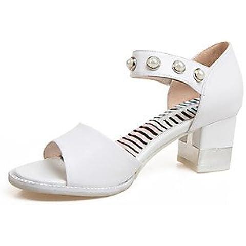 Ei&iLI Scarpe Donna-Sandali-Formale / Casual-Tacchi / Spuntate / Cinturino alla caviglia-Quadrato-Finta pelle-Bianco , white , us10.5 / eu42 / uk8.5 / cn43