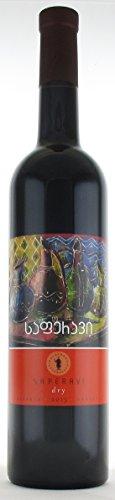 Georgischer Wein SAPERAVI, Wein der Langlebigen, rot trocken, aus authochtone Rebsorte, 0,75L, Georgien (Georgien)