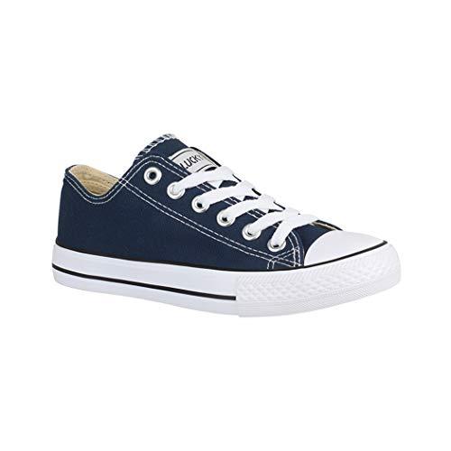 Elara Unisex Sneaker  Sportschuhe fur Herren und Damen  Low top Turnschuh Textil Schuhe Grosse 41, Farbe Blau