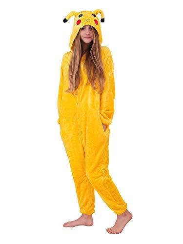 Unbekannt Damen Fleece Einteiler Nachtwäsche Pyjama Kostüm mit Kapuze Pikachu gelb Gr. S