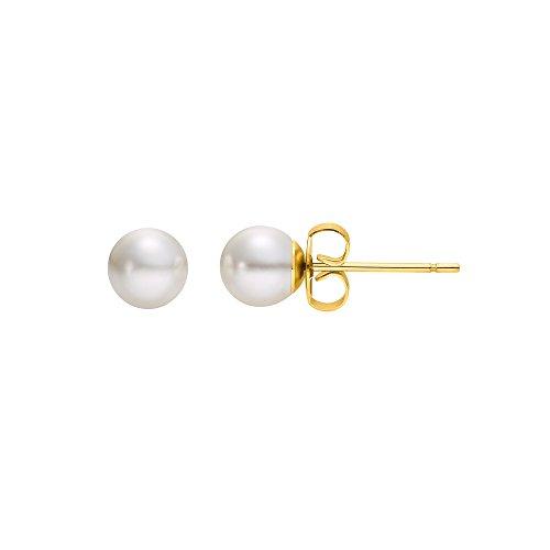 Heideman Ohrringe Damen Perlohrstecker aus Edelstahl gold farbend matt Ohrstecker für Frauen mit Swarovski Perle weiss rund 6mm