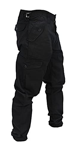 """WWK Mens Army Combat Work Trousers Pants Combats Cargo - Black - 30"""""""