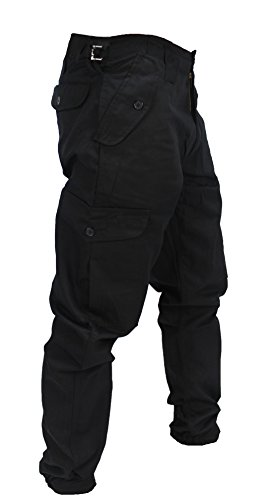 WWK Mens Army Combat Work Trousers Pants Combats Cargo - Black - 32""