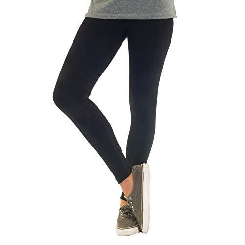 Blickdichte Damen Leggings aus Baumwolle Leggins Knöchellang in schwarz weiß grün grau rot gelb, Farbe: Schwarz, Größe: 44-46 (2XL)