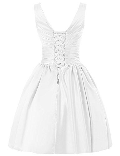JAEDEN V-Ausschnitt Brautjungfernkleider Kurz Satin Abendkleid Ballkleid Partykleid Weiß