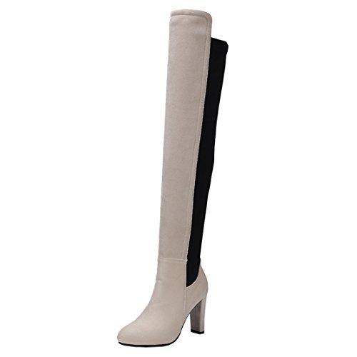 AIYOUMEI Damen Langschaft Overknee Stiefel mit Blockabsatz Elegant Stretch Stiefel Ohne Reißverschluss Schuhe