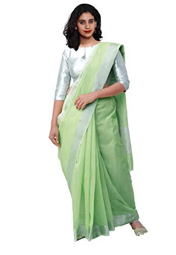 Unnati Silks Women Chanderi Jute Saree with blouse piece from the Weavers of Madhya Pradesh(UNM29880+Green+Free size)