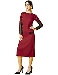 Lords Red Georgette Stitched Embroidery With Embroidery Kurti