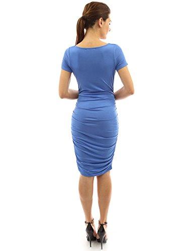 PattyBoutik Mama femmes robe de maternité avec cou souple et manches courtes Bleu